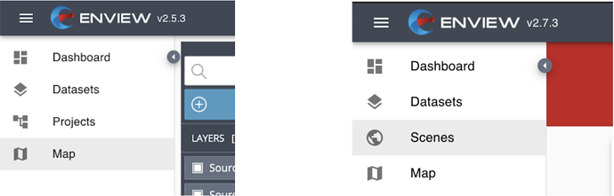 Projects have been archived and a new option, Scenes, shows in the menu.
