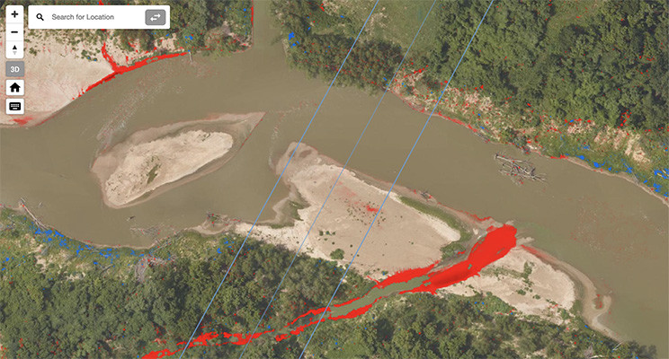 River Bank Erosion Identified with Change Detection - Enview