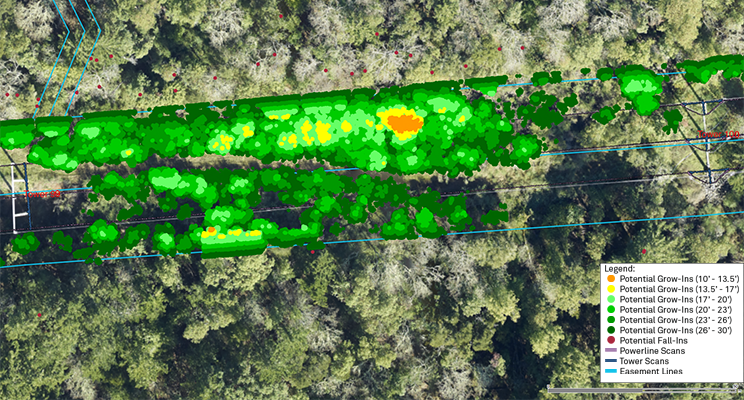 Vegetation Clearances Automatically Analyzed Across a Power Line Network